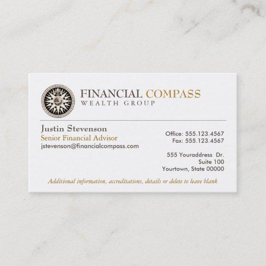 Financial Advisor Analyst Finance Compass Business Card Zazzle