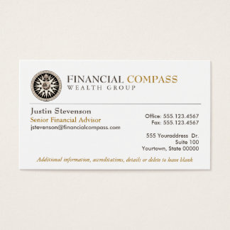 Financial Advisor Analyst Finance Compass Business Card