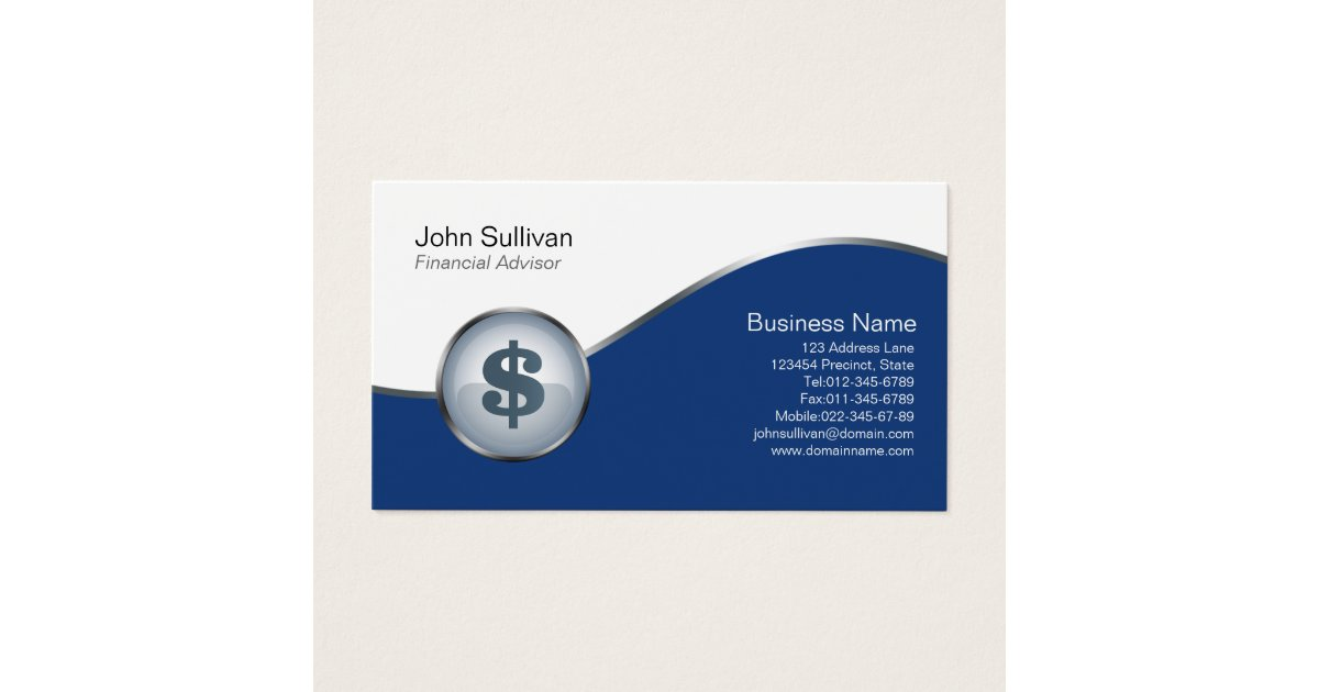 Financial Advisor Business Card Dollar Sign Icon | Zazzle.com