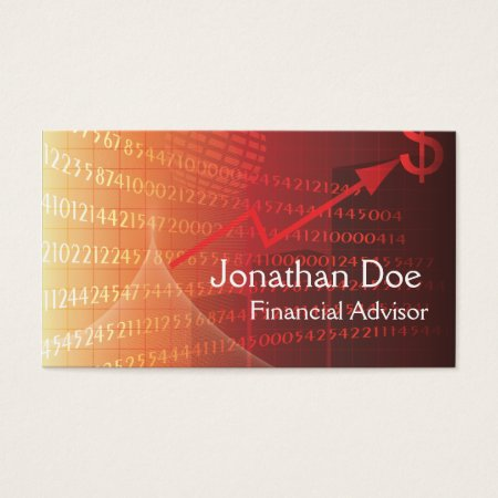 Elegant Red Financial Advisor Personal Card