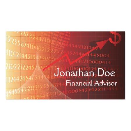 Elegant Red Financial Advisor Personal Card