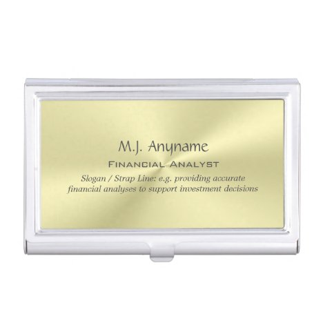 Financial Analyst luxury polished gold-effect Case For Business Cards