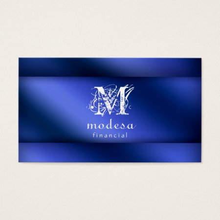 Financial Business Cards Blue Metallic Profilecard