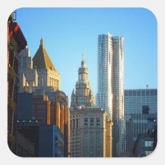 Financial District Skyline Cityscape Square Sticker