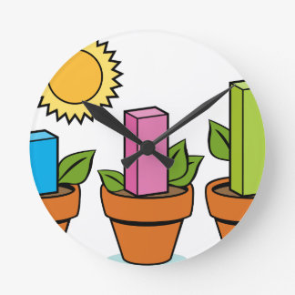 Financial Growth Plants Round Wall Clock