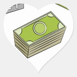 Financial Item Set Cartoon Drawing Heart Sticker