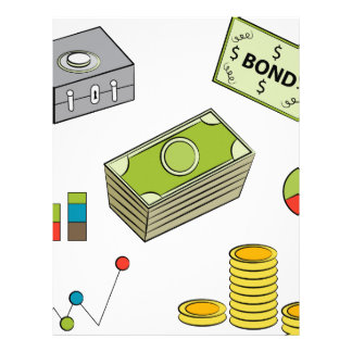 Financial Item Set Cartoon Drawing Letterhead