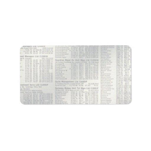 Financial news page address label