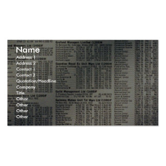 Financial news page business card templates