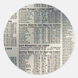 Financial news page round sticker