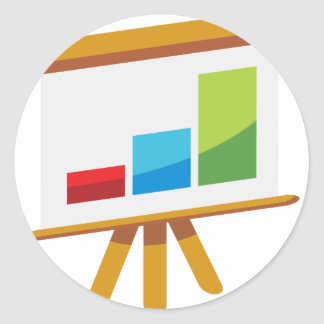 Financial Report Easel Presentation Icon Classic Round Sticker