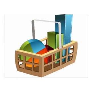 Financial Stock Market Business Chart Basket Postcard