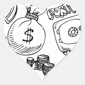 Financial Symbol Doodle Set Heart Sticker