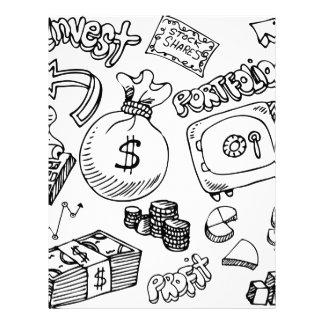Financial Symbol Doodle Set Letterhead