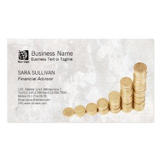 FinancialAdvisor FinanceServices Money Coins Stack Business Card