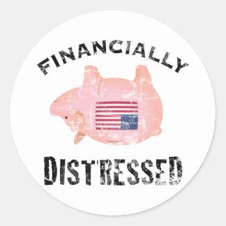 Financially Distressed Round Sticker
