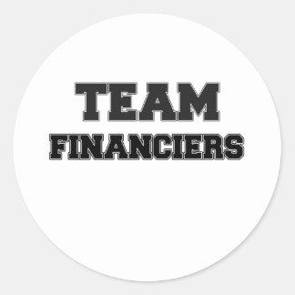 Financieros del equipo etiqueta redonda