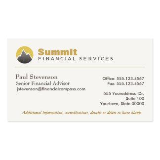 Finanzas financieras profesionales del consejero y tarjetas de visita