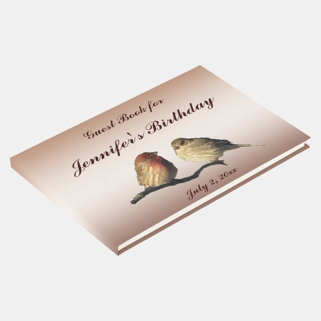 Finch Birds Birthday Party Guest Book