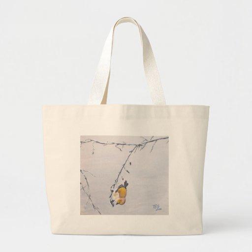 Finch in Winter Jumbo Tote Bag