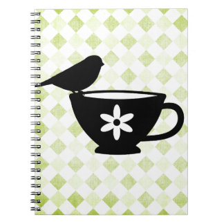 Finch on Teacup Silhouette Notebook
