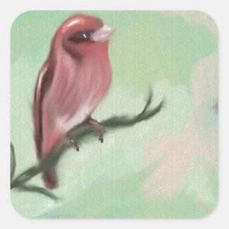 Finch Rose Square Sticker