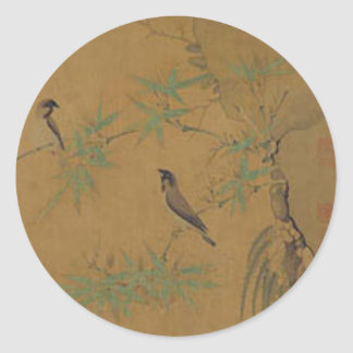 Finches and Bamboo by Emperor Huizong Classic Round Sticker