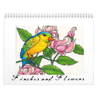 Finches and Flowers 12-month Calendar