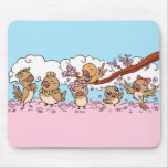 Finches birds with pink sakura flowers mouse pad