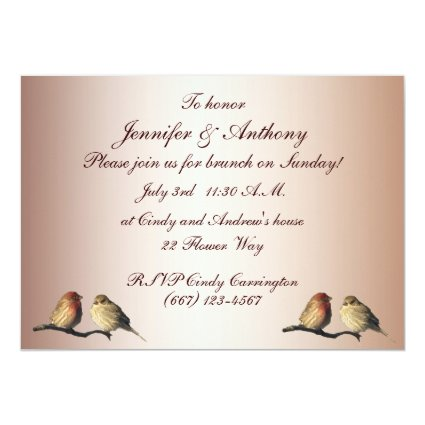 Finches Wedding Brunch 5x7 Paper Invitation Card