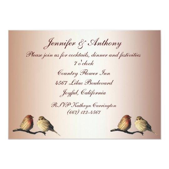 Finches Wedding Reception Card