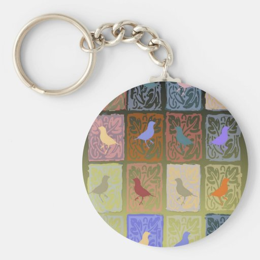finches with molded paper basic round button keychain
