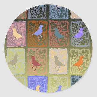 finches with molded paper classic round sticker