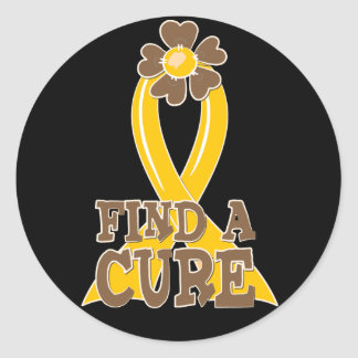 Find A Cure Childhood Cancer Flower Ribbon Classic Round Sticker