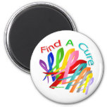 Find A Cure Colorful Cancer Ribbons 2 Inch Round Magnet