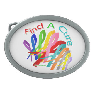 Find A Cure Colorful Cancer Ribbons Belt Buckle