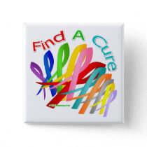 Find A Cure Colorful Cancer Ribbons Button