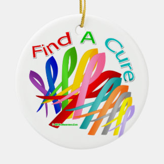Find A Cure Colorful Cancer Ribbons Ceramic Ornament