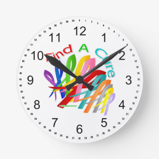 Find A Cure Colorful Cancer Ribbons Clocks