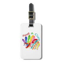Find A Cure Colorful Cancer Ribbons Luggage Tag