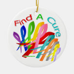 Find A Cure Colorful Cancer Ribbons Double-Sided Ceramic Round Christmas Ornament