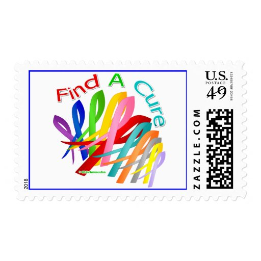 Find A Cure Colorful Cancer Ribbons Postage