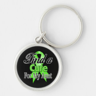 Find a Cure For My Aunt - Lymphoma Silver-Colored Round Keychain
