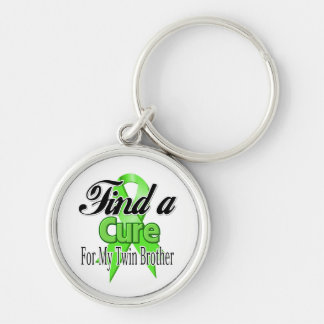 Find a Cure For My Twin Brother - Lymphoma Silver-Colored Round Keychain