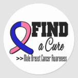 Find a Cure Male Breast Cancer Awareness Round Stickers