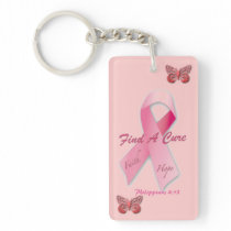 Find a Cure Philippians 4:13 Cancer Awareness Keychain