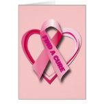 FIND A CURE - PINK RIBBON & HEART GREETING CARDS