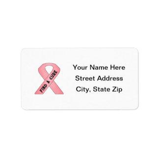 Find A Cure (pink ribbon) Custom Address Labels