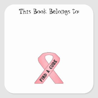 Find A Cure pink ribbon Square Sticker