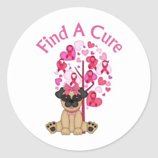 Find A Cure Pug and Pink Ribbon Tree Round Sticker